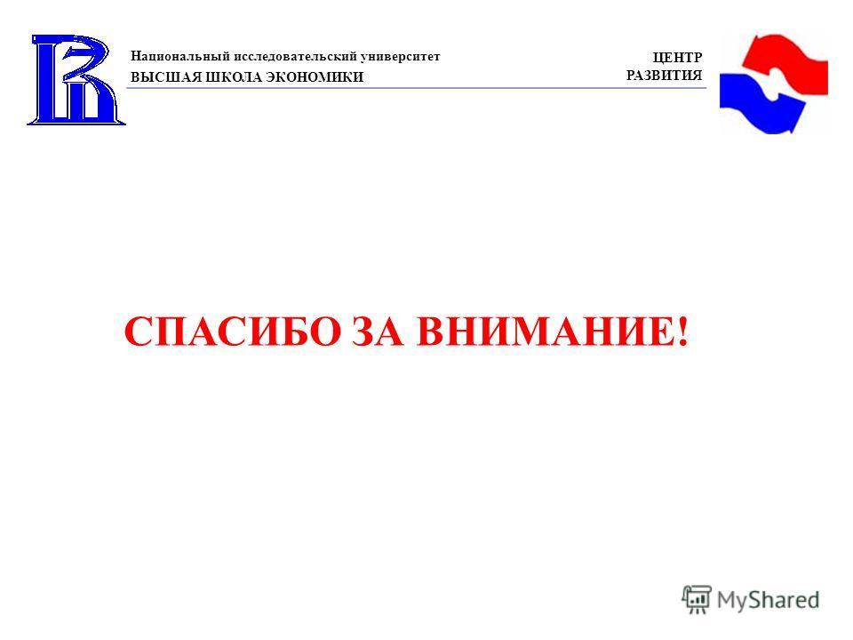 Национальный исследовательский университет ВЫСШАЯ ШКОЛА ЭКОНОМИКИ ЦЕНТР РАЗВИТИЯ СПАСИБО ЗА ВНИМАНИЕ!