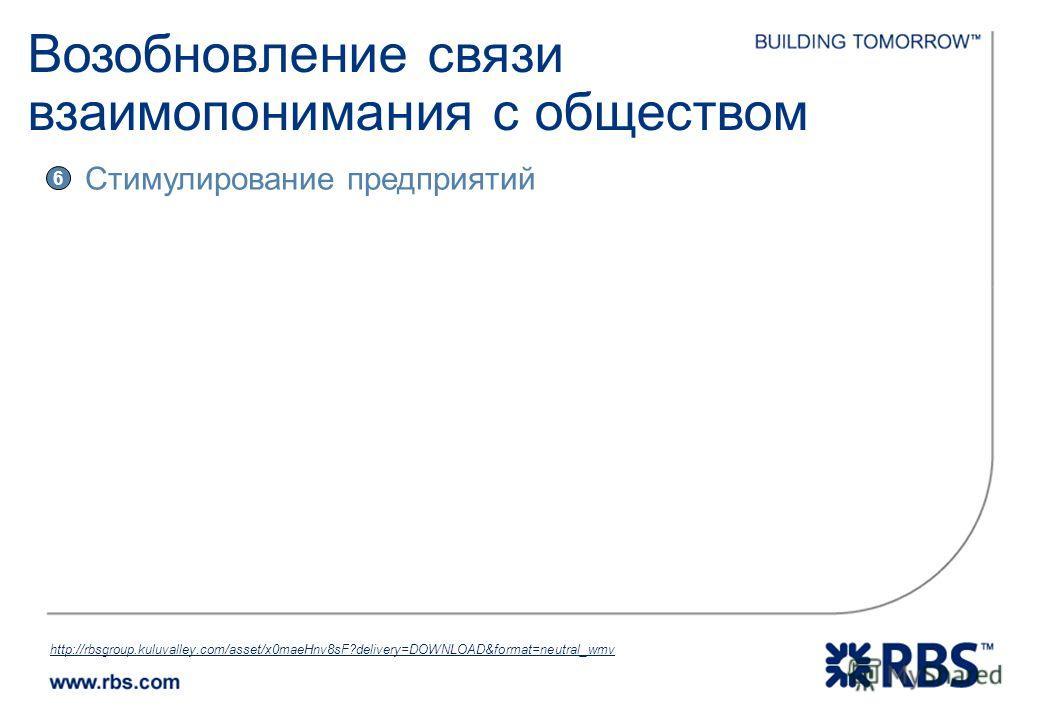 http://rbsgroup.kuluvalley.com/asset/x0maeHnv8sF?delivery=DOWNLOAD&format=neutral_wmv 6 Стимулирование предприятий Возобновление связи взаимопонимания с обществом