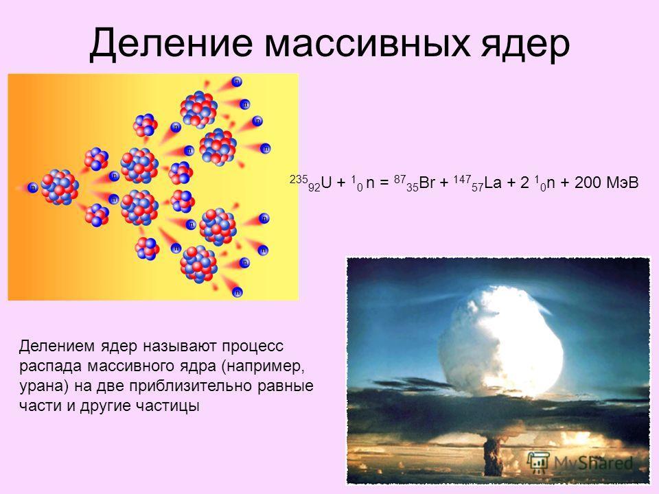 Деление массивных ядер Делением ядер называют процесс распада массивного ядра (например, урана) на две приблизительно равные части и другие частицы 235 92 U + 1 0 n = 87 35 Br + 147 57 La + 2 1 0 n + 200 МэВ
