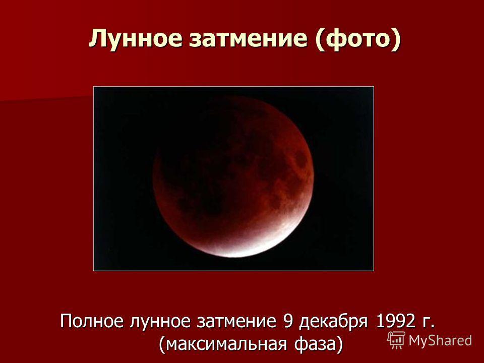 Лунное затмение (фото) Полное лунное затмение 9 декабря 1992 г. (максимальная фаза)