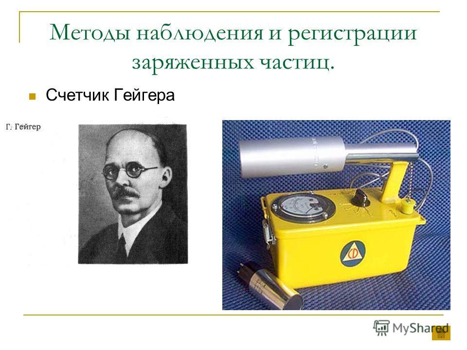 Методы наблюдения и регистрации заряженных частиц. Счетчик Гейгера