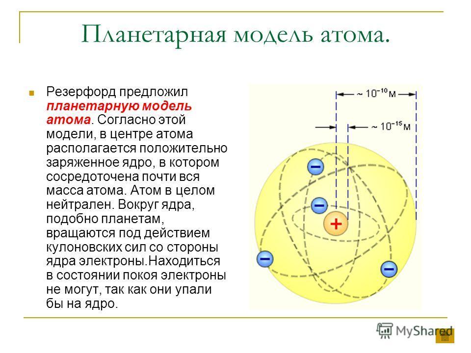 Планетарная модель атома. Резерфорд предложил планетарную модель атома. Согласно этой модели, в центре атома располагается положительно заряженное ядро, в котором сосредоточена почти вся масса атома. Атом в целом нейтрален. Вокруг ядра, подобно плане
