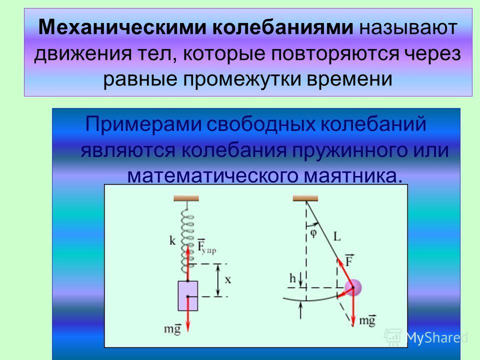 Механическими колебаниями называют движения тел, которые повторяются через равные промежутки времени Примерами свободных колебаний являются колебания пружинного или математического маятника.