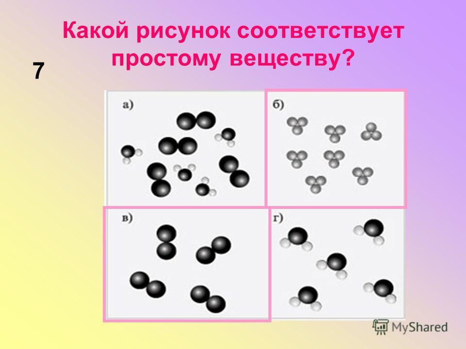 Какой рисунок соответствует простому веществу? 7