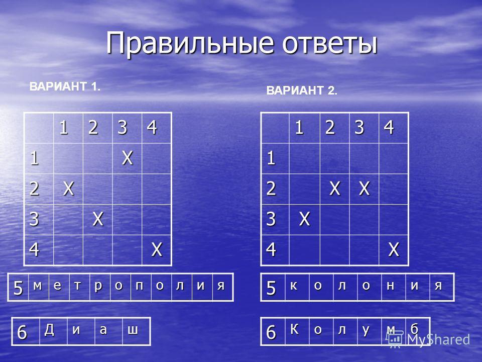 Правильные ответы Правильные ответы 5колония ВАРИАНТ 1. ВАРИАНТ 2.12341Х 2Х 3Х 4Х12341 2ХХ 3Х 4Х 6Диаш 5метрополия 6Колумб