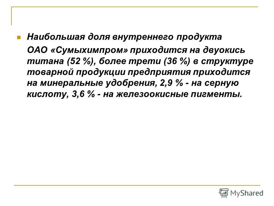 Наибольшая доля внутреннего продукта ОАО «Сумыхимпром» приходится на двуокись титана (52 %), более трети (36 %) в структуре товарной продукции предприятия приходится на минеральные удобрения, 2,9 % - на серную кислоту, 3,6 % - на железоокисные пигмен
