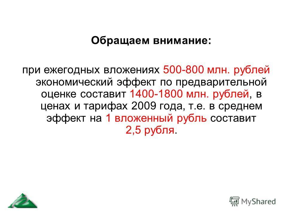 Обращаем внимание: при ежегодных вложениях 500-800 млн. рублей экономический эффект по предварительной оценке составит 1400-1800 млн. рублей, в ценах и тарифах 2009 года, т.е. в среднем эффект на 1 вложенный рубль составит 2,5 рубля.
