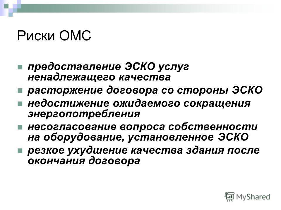 Риски ОМС предоставление ЭСКО услуг ненадлежащего качества расторжение договора со стороны ЭСКО недостижение ожидаемого сокращения энергопотребления несогласование вопроса собственности на оборудование, установленное ЭСКО резкое ухудшение качества зд