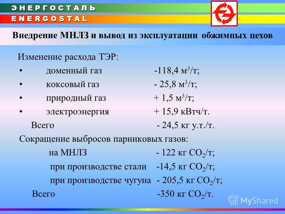 E N E R G O S T A L Э Н Е Р Г О С Т А Л Ь Внедрение МНЛЗ и вывод из эксплуатации обжимных цехов Изменение расхода ТЭР: доменный газ -118,4 м 3 /т; коксовый газ - 25,8 м 3 /т; природный газ + 1,5 м 3 /т; электроэнергия + 15,9 кВтч/т. Всего - 24,5 кг у