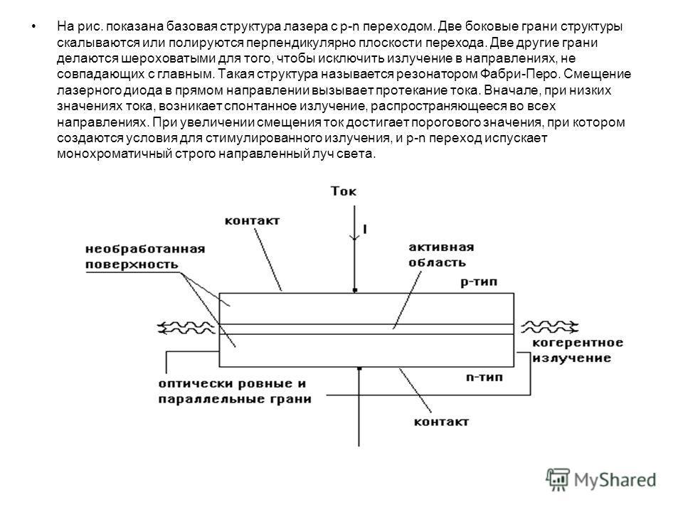 На рис. показана базовая структура лазера с p-n переходом. Две боковые грани структуры скалываются или полируются перпендикулярно плоскости перехода. Две другие грани делаются шероховатыми для того, чтобы исключить излучение в направлениях, не совпад