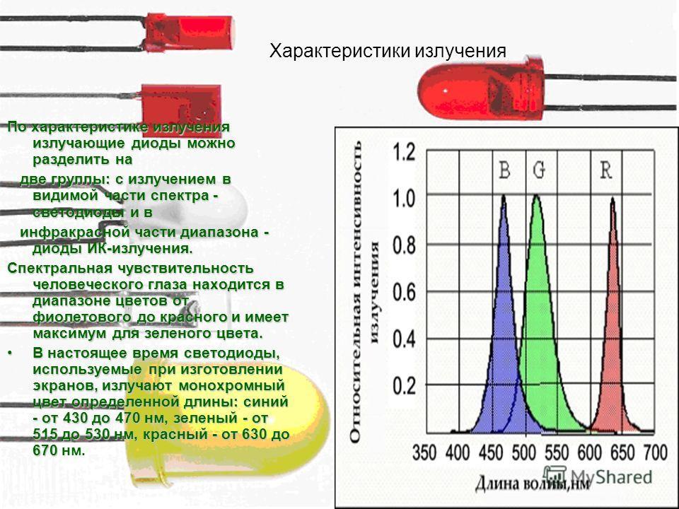По характеристике излучения излучающие диоды можно разделить на две группы: с излучением в видимой части спектра - светодиоды и в две группы: с излучением в видимой части спектра - светодиоды и в инфракрасной части диапазона - диоды ИК-излучения. инф