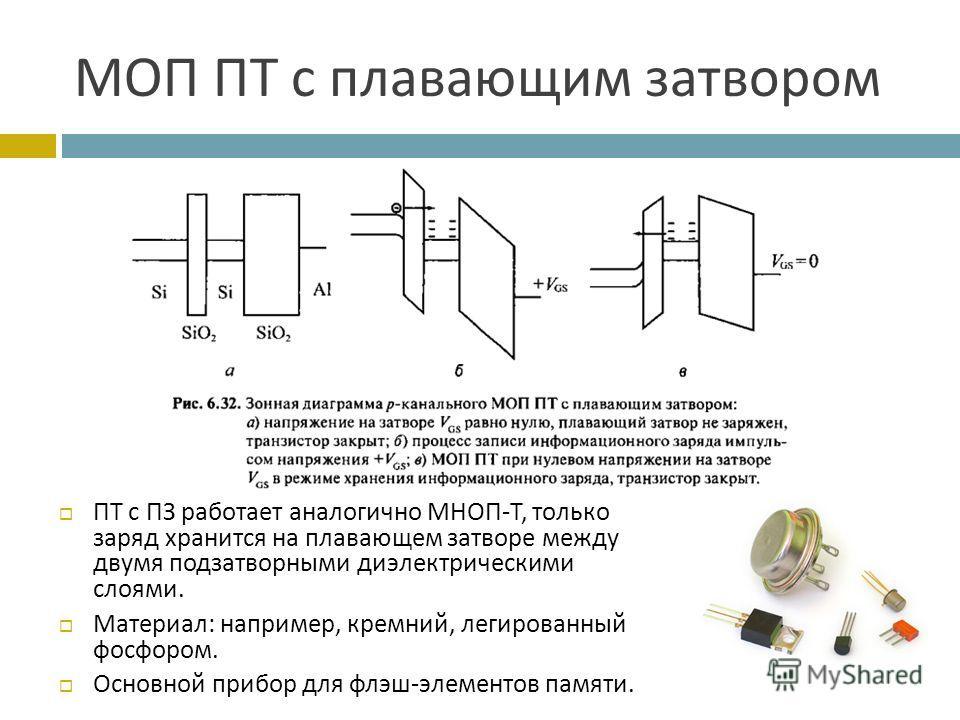 МОП ПТ с плавающим затвором ПТ с ПЗ работает аналогично МНОП - Т, только заряд хранится на плавающем затворе между двумя подзатворными диэлектрическими слоями. Материал : например, кремний, легированный фосфором. Основной прибор для флэш - элементов