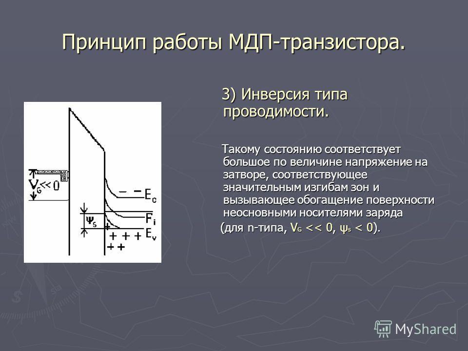 Принцип работы МДП-транзистора. 3) Инверсия типа проводимости. 3) Инверсия типа проводимости. Такому состоянию соответствует большое по величине напряжение на затворе, соответствующее значительным изгибам зон и вызывающее обогащение поверхности неосн