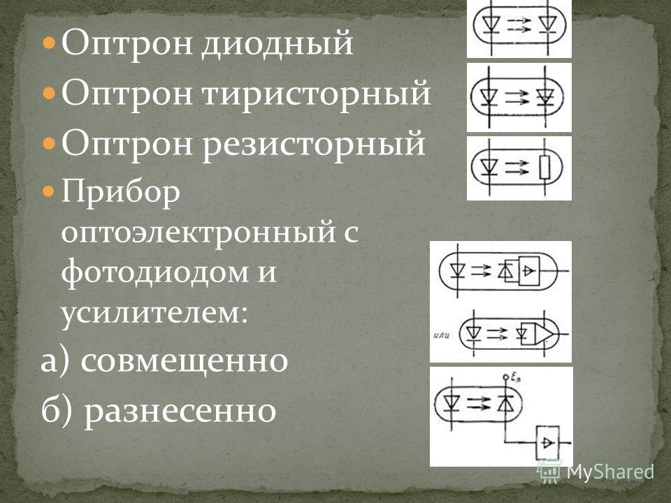 Оптрон диодный Оптрон тиристорный Оптрон резисторный Прибор оптоэлектронный с фотодиодом и усилителем: а) совмещенно б) разнесенно