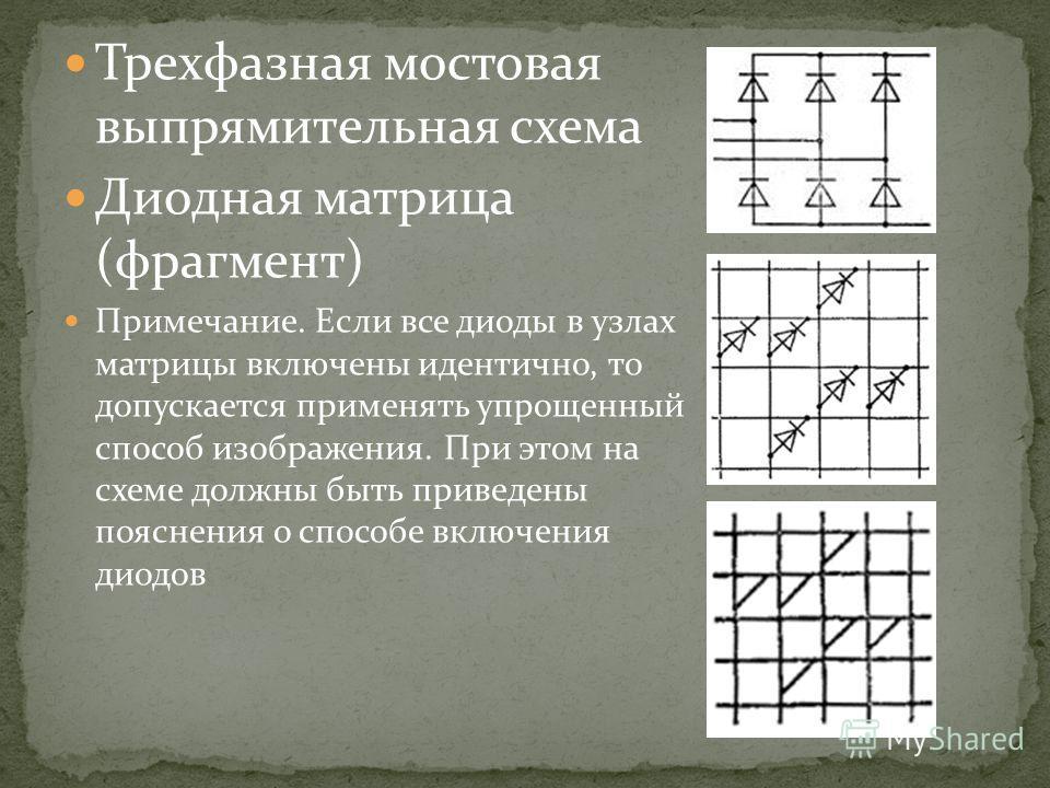 Трехфазная мостовая выпрямительная схема Диодная матрица (фрагмент) Примечание. Если все диоды в узлах матрицы включены идентично, то допускается применять упрощенный способ изображения. При этом на схеме должны быть приведены пояснения о способе вкл