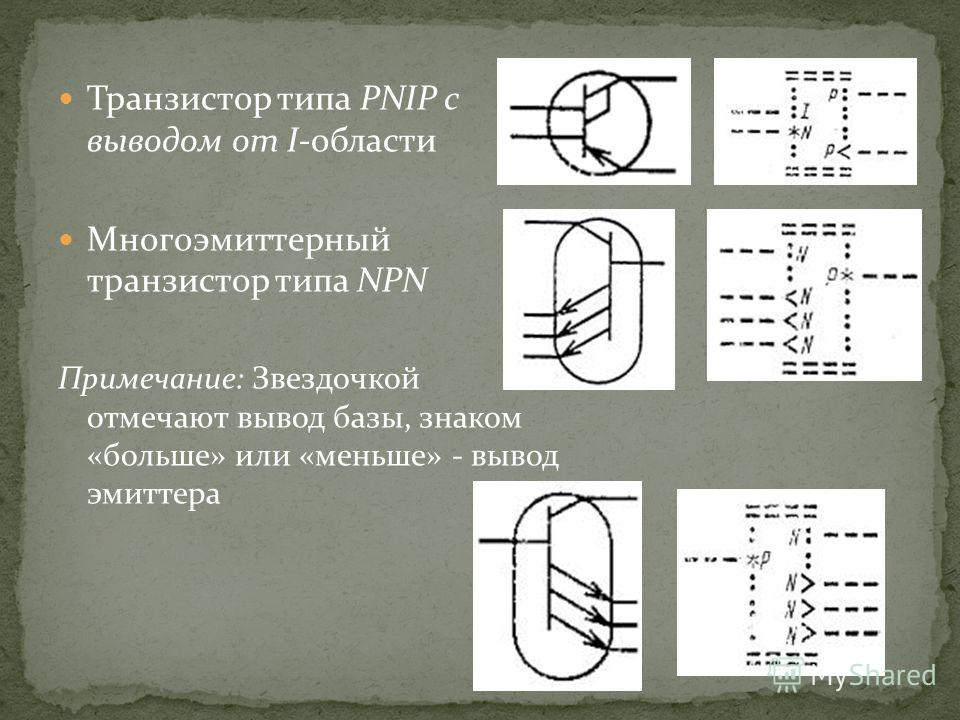 Транзистор типа PNIP с выводом от I-области Многоэмиттерный транзистор типа NPN Примечание: Звездочкой отмечают вывод базы, знаком «больше» или «меньше» - вывод эмиттера