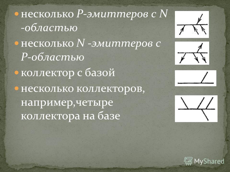 несколько Р-эмиттеров с N -областью несколько N -эмиттеров с Р-областью коллектор с базой несколько коллекторов, например,четыре коллектора на базе