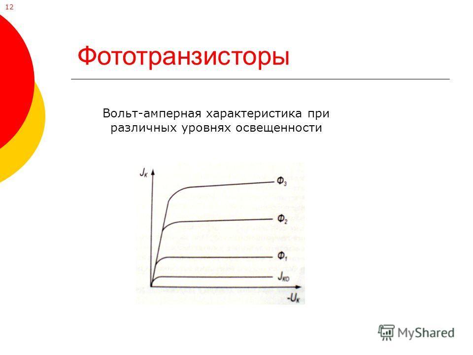 Фототранзисторы Вольт-амперная характеристика при различных уровнях освещенности 12
