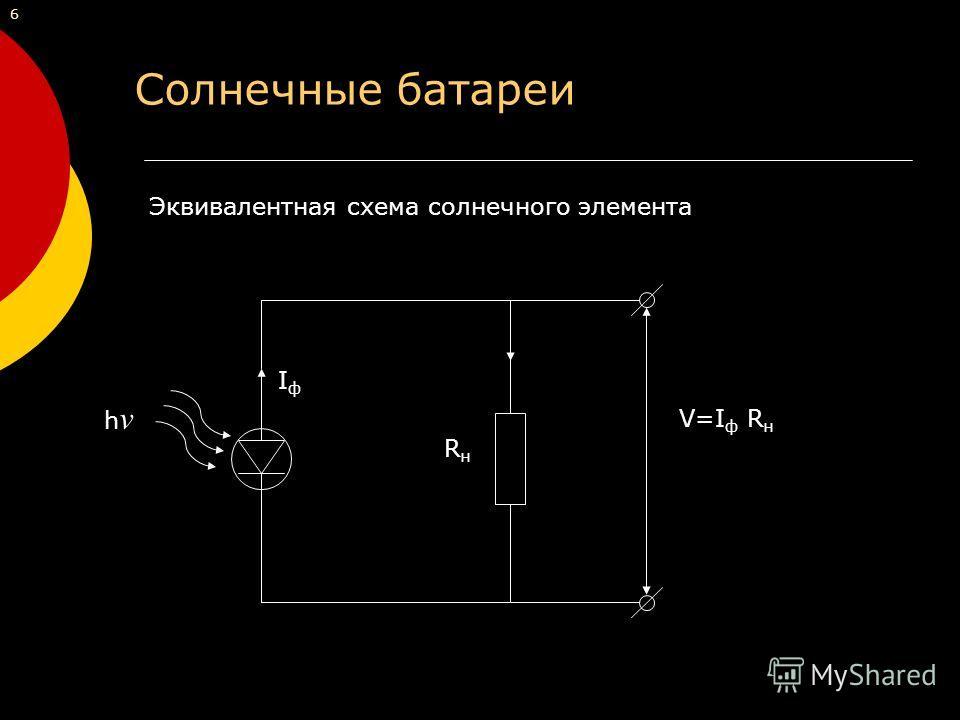 Эквивалентная схема солнечного элемента hνhν IфIф RнRн V=I ф R н 6