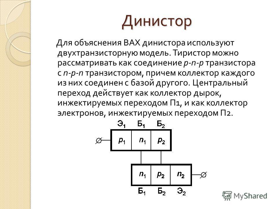 Динистор Для объяснения ВАХ динистора используют двухтранзисторную модель. Тиристор можно рассматривать как соединение р n р транзистора с n р n транзистором, причем коллектор каждого из них соединен с базой другого. Центральный переход действует как
