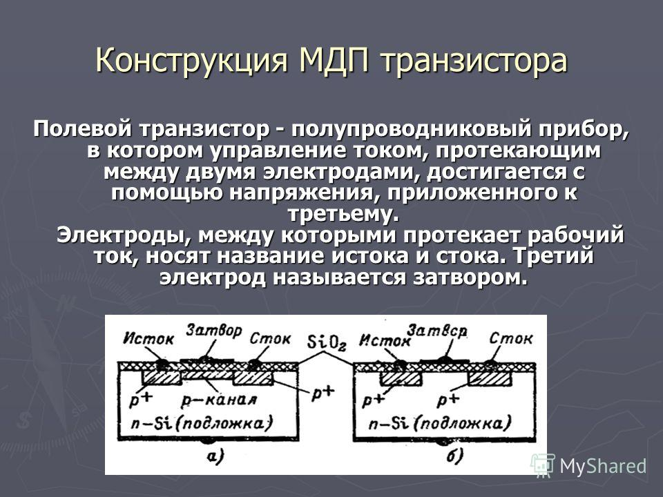 Конструкция МДП транзистора Полевой транзистор - полупроводниковый прибор, в котором управление током, протекающим между двумя электродами, достигается с помощью напряжения, приложенного к третьему. Электроды, между которыми протекает рабочий ток, но