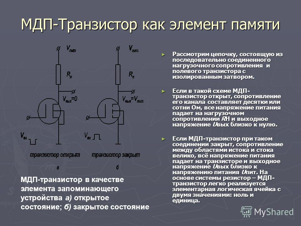 МДП-Транзистор как элемент памяти Рассмотрим цепочку, состоящую из последовательно соединенного нагрузочного сопротивления и полевого транзистора с изолированным затвором. Рассмотрим цепочку, состоящую из последовательно соединенного нагрузочного соп