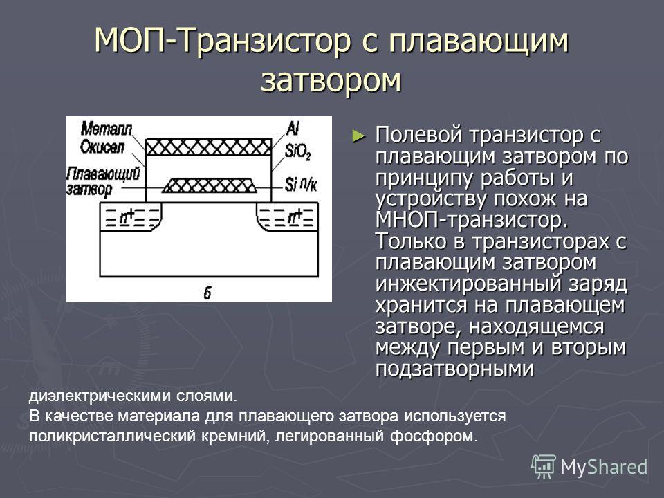 МОП-Транзистор с плавающим затвором Полевой транзистор с плавающим затвором по принципу работы и устройству похож на МНОП транзистор. Только в транзисторах с плавающим затвором инжектированный заряд хранится на плавающем затворе, находящемся между пе