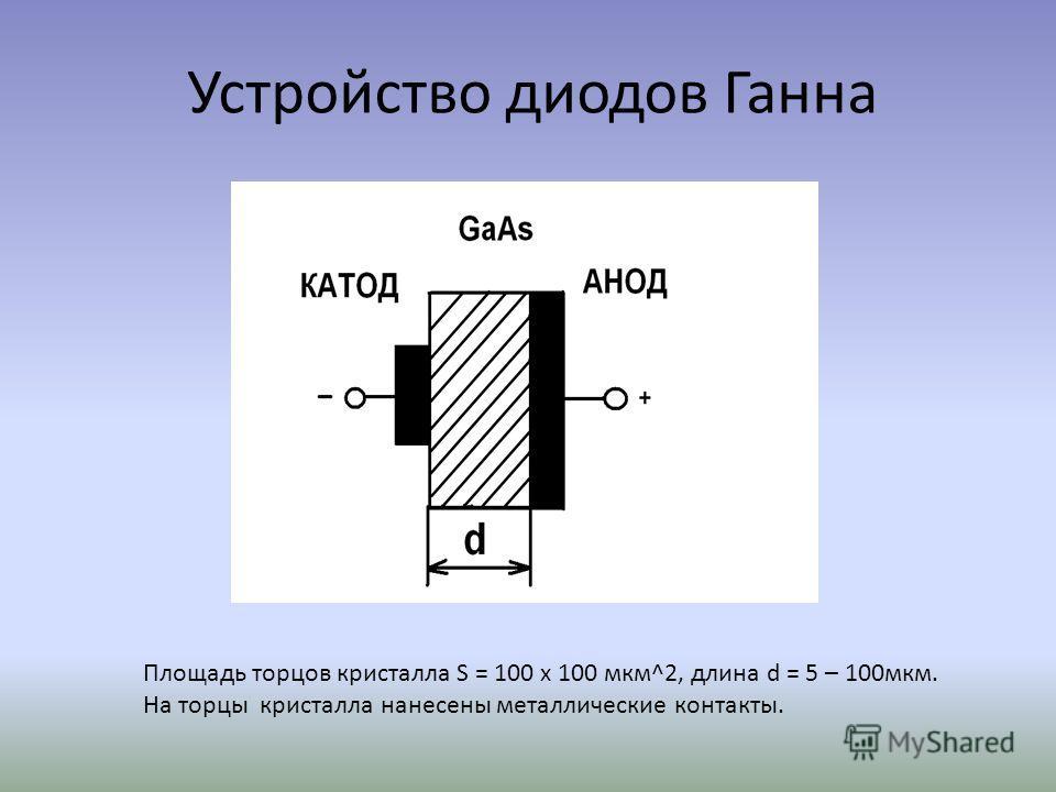 Устройство диодов Ганна Площадь торцов кристалла S = 100 x 100 мкм^2, длина d = 5 – 100мкм. На торцы кристалла нанесены металлические контакты.