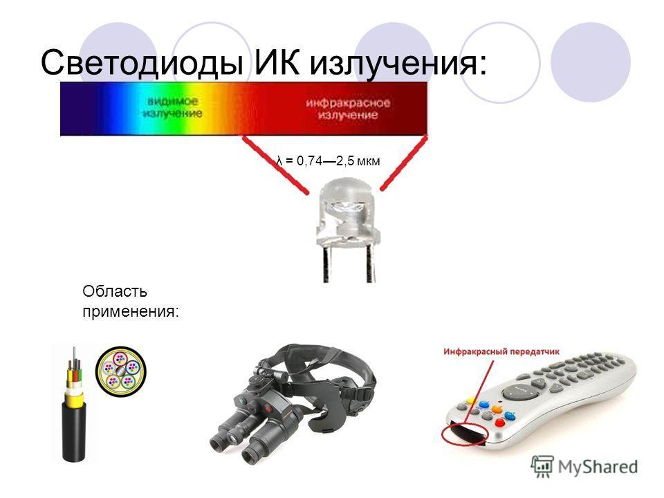 Светодиоды ИК излучения: λ = 0,742,5 мкм Область применения: