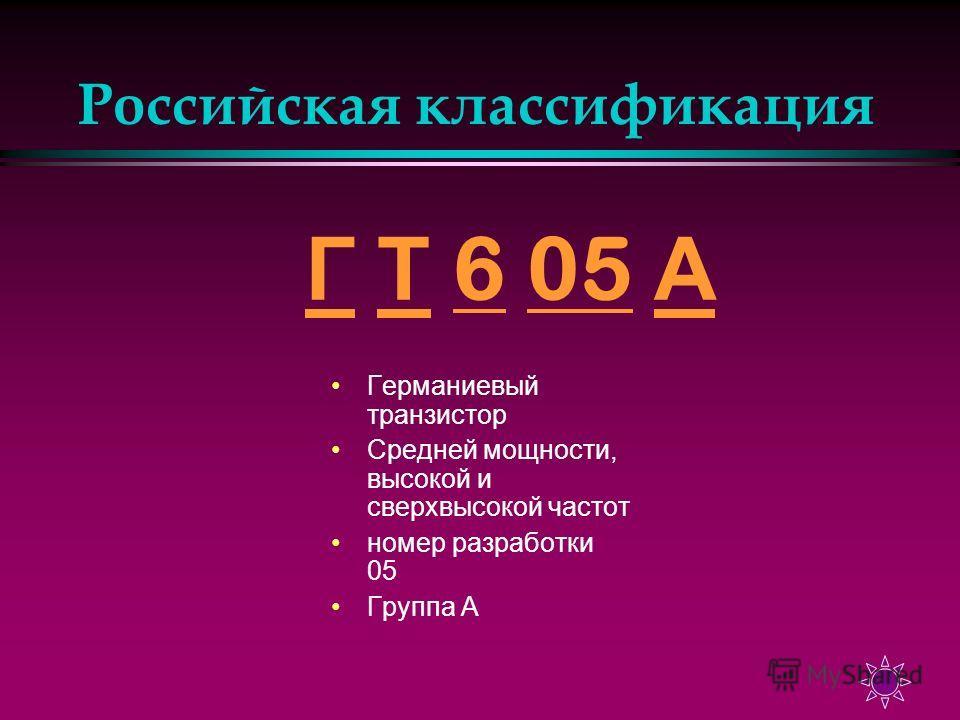 Российская классификация Г Г Т 6 05 А Т605 А Германиевый транзистор Средней мощности, высокой и сверхвысокой частот номер разработки 05 Группа А