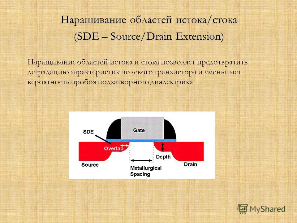 Наращивание областей истока/стока (SDE – Source/Drain Extension) Наращивание областей истока и стока позволяет предотвратить деградацию характеристик полевого транзистора и уменьшает вероятность пробоя подзатворного диэлектрика.