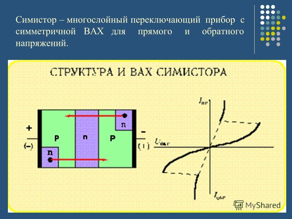Симистор – многослойный переключающий прибор с симметричной ВАХ для прямого и обратного напряжений.