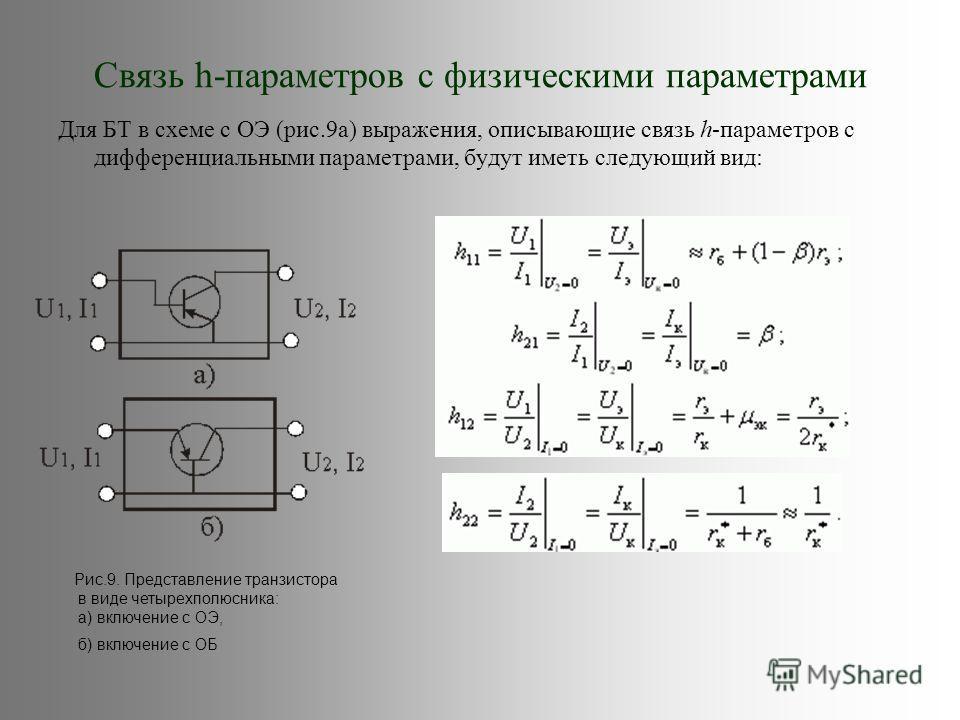 Связь h-параметров с физическими параметрами Для БТ в схеме с ОЭ (рис.9а) выражения, описывающие связь h-параметров с дифференциальными параметрами, будут иметь следующий вид: Рис.9. Представление транзистора в виде четырехполюсника: а) включение с О