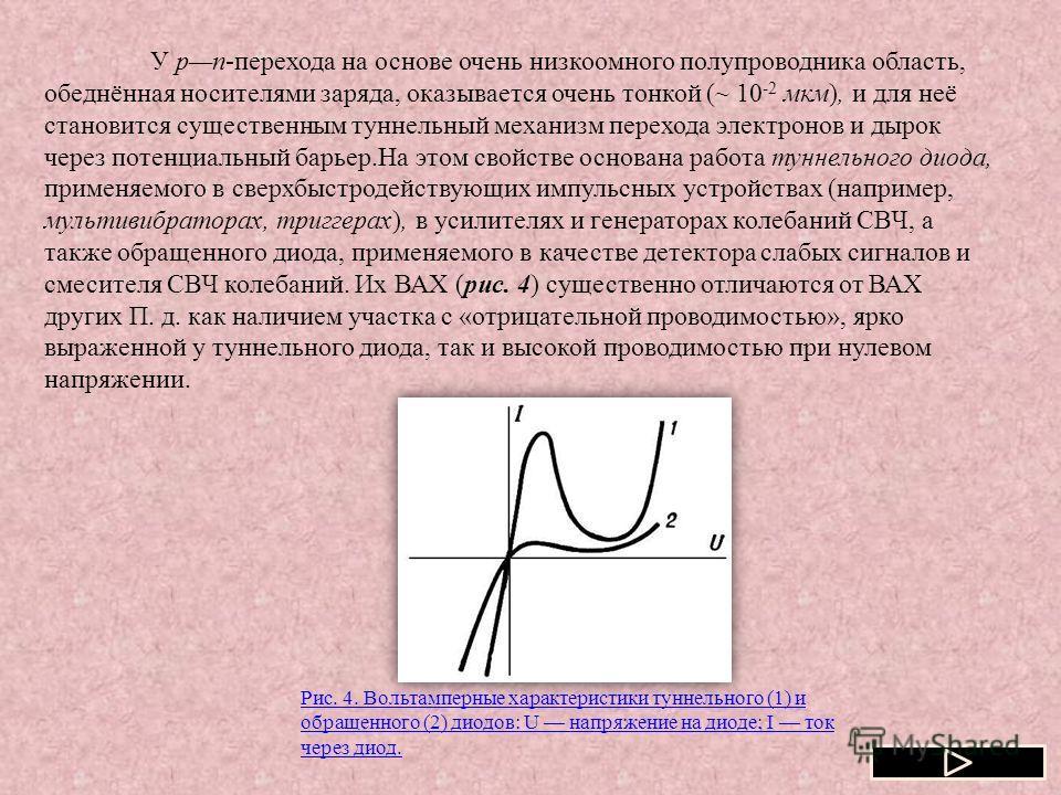 У рn-перехода на основе очень низкоомного полупроводника область, обеднённая носителями заряда, оказывается очень тонкой (~ 10 -2 мкм), и для неё становится существенным туннельный механизм перехода электронов и дырок через потенциальный барьер.На эт