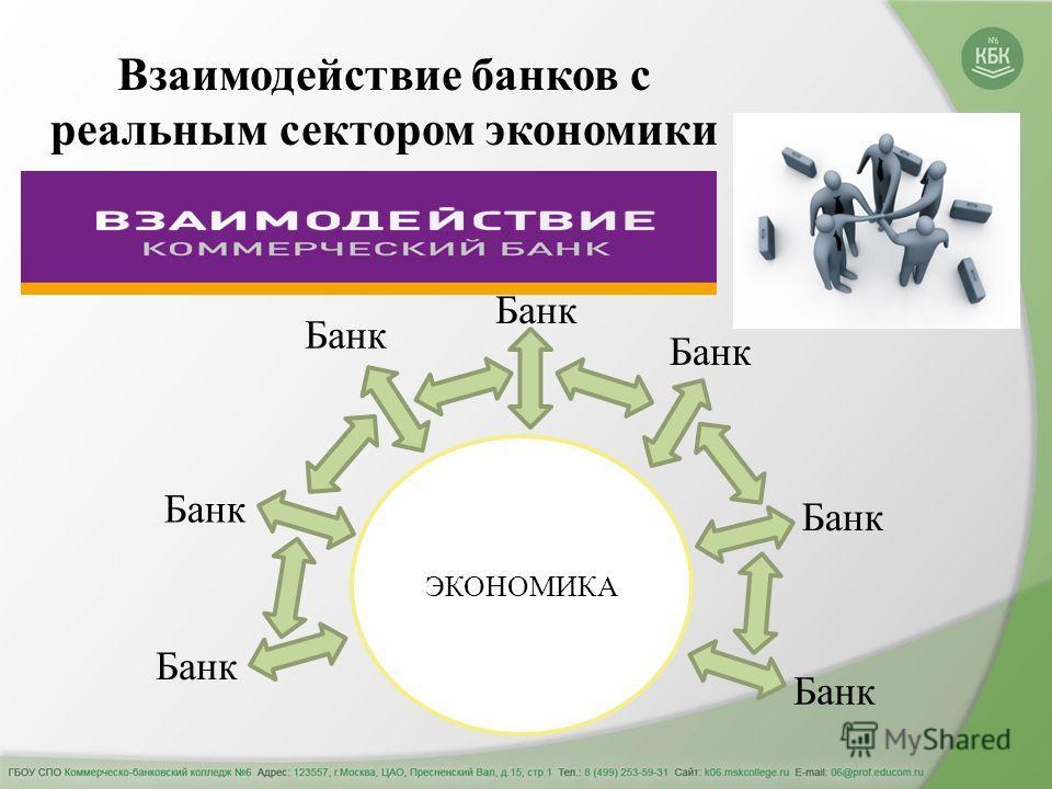 Взаимодействие банков с реальным сектором экономики ЭКОНОМИКА Банк