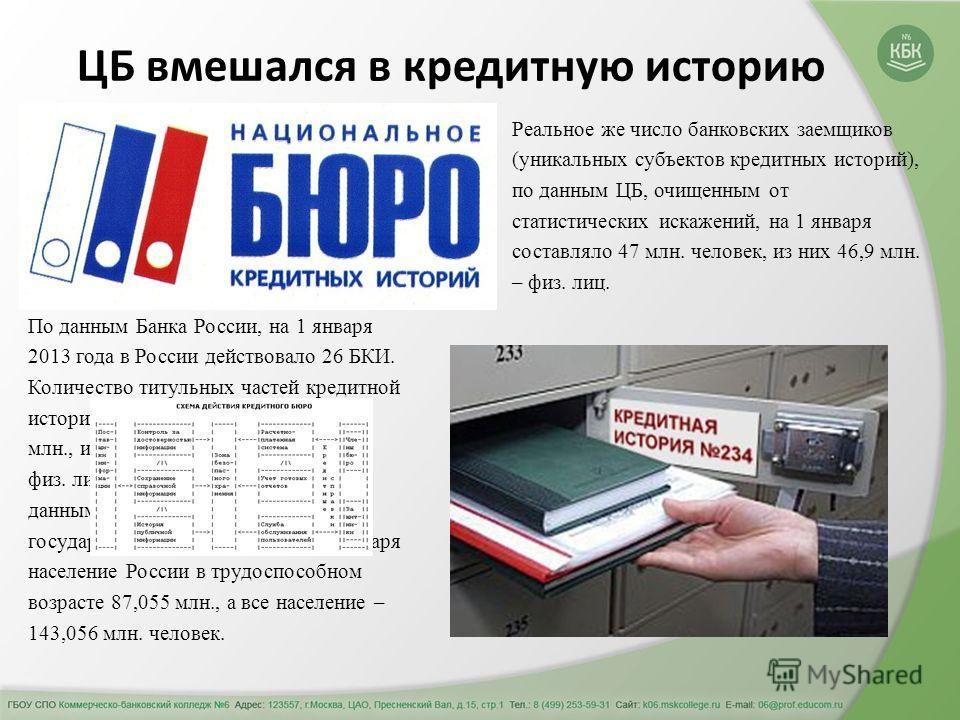 По данным Банка России, на 1 января 2013 года в России действовало 26 БКИ. Количество титульных частей кредитной истории на эту дату составляло 175 млн., из них которых 174,6 млн. – по физ. лицам. И это при том, что по данным Федеральной службы госуд