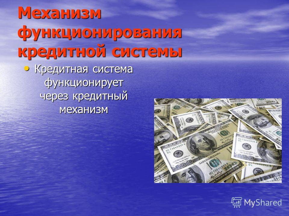 Механизм функционирования кредитной системы Кредитная система функционирует через кредитный механизм Кредитная система функционирует через кредитный механизм