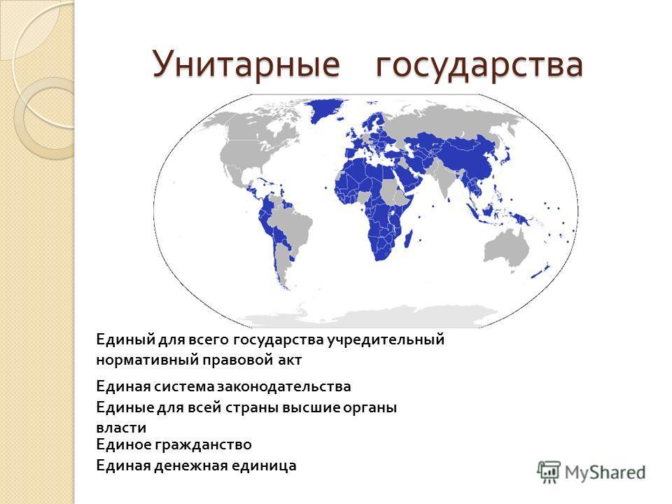 Унитарные государства Унитарные государства Единый для всего государства учредительный нормативный правовой акт Единые для всей страны высшие органы власти Единая денежная единица Единое гражданство Единая система законодательства