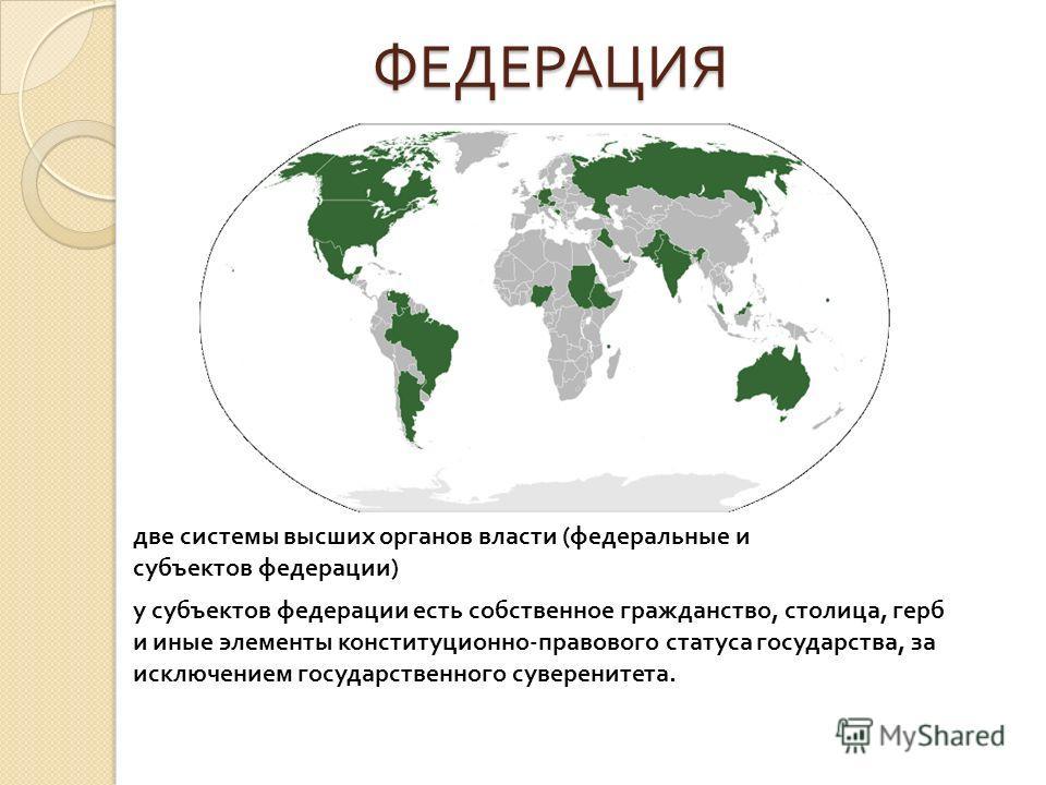 ФЕДЕРАЦИЯ ФЕДЕРАЦИЯ две системы высших органов власти (федеральные и субъектов федерации) у субъектов федерации есть собственное гражданство, столица, герб и иные элементы конституционно-правового статуса государства, за исключением государственного