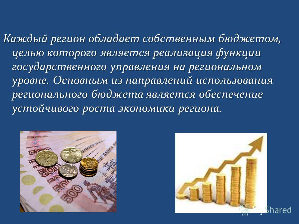 Каждый регион обладает собственным бюджетом, целью которого является реализация функции государственного управления на региональном уровне. Основным из направлений использования регионального бюджета является обеспечение устойчивого роста экономики р