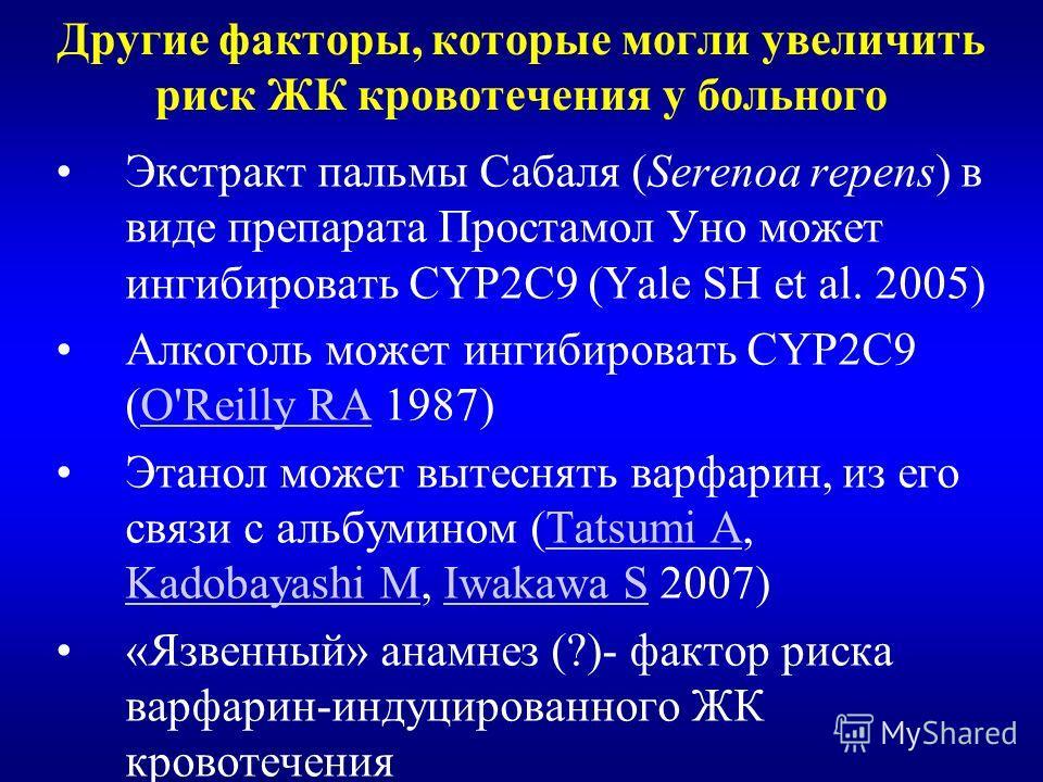 Другие факторы, которые могли увеличить риск ЖК кровотечения у больного Экстракт пальмы Сабаля (Serenoa repens) в виде препарата Простамол Уно может ингибировать CYP2C9 (Yale SH et al. 2005) Алкоголь может ингибировать CYP2C9 (O'Reilly RA 1987)O'Reil