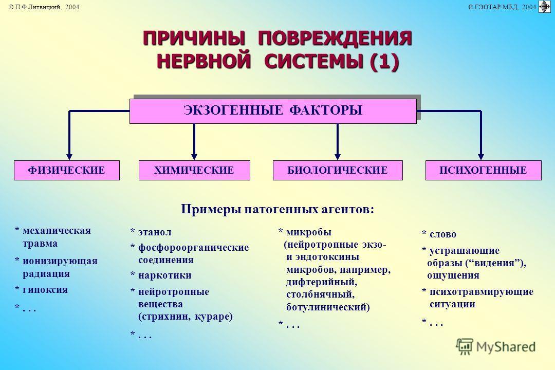 ЭКЗОГЕННЫЕ ФАКТОРЫ Примеры патогенных агентов: * механическая травма * ионизирующая радиация * гипоксия *... * этанол * фосфороорганические соединения * наркотики * нейротропные вещества (стрихнин, кураре) *... * микробы (нейротропные экзо- и эндоток