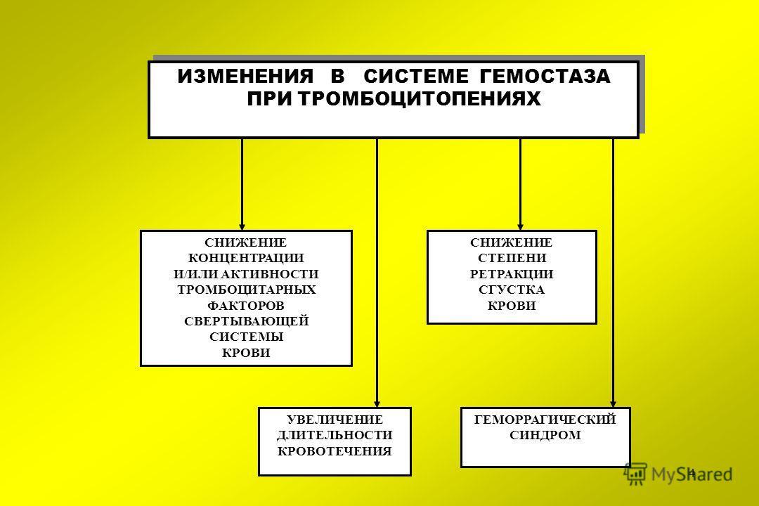 4 ИЗМЕНЕНИЯ В СИСТЕМЕ ГЕМОСТАЗА ПРИ ТРОМБОЦИТОПЕНИЯХ СНИЖЕНИЕ КОНЦЕНТРАЦИИ И/ИЛИ АКТИВНОСТИ ТРОМБОЦИТАРНЫХ ФАКТОРОВ СВЕРТЫВАЮЩЕЙ СИСТЕМЫ КРОВИ УВЕЛИЧЕНИЕ ДЛИТЕЛЬНОСТИ КРОВОТЕЧЕНИЯ СНИЖЕНИЕ СТЕПЕНИ РЕТРАКЦИИ СГУСТКА КРОВИ ГЕМОРРАГИЧЕСКИЙ СИНДРОМ