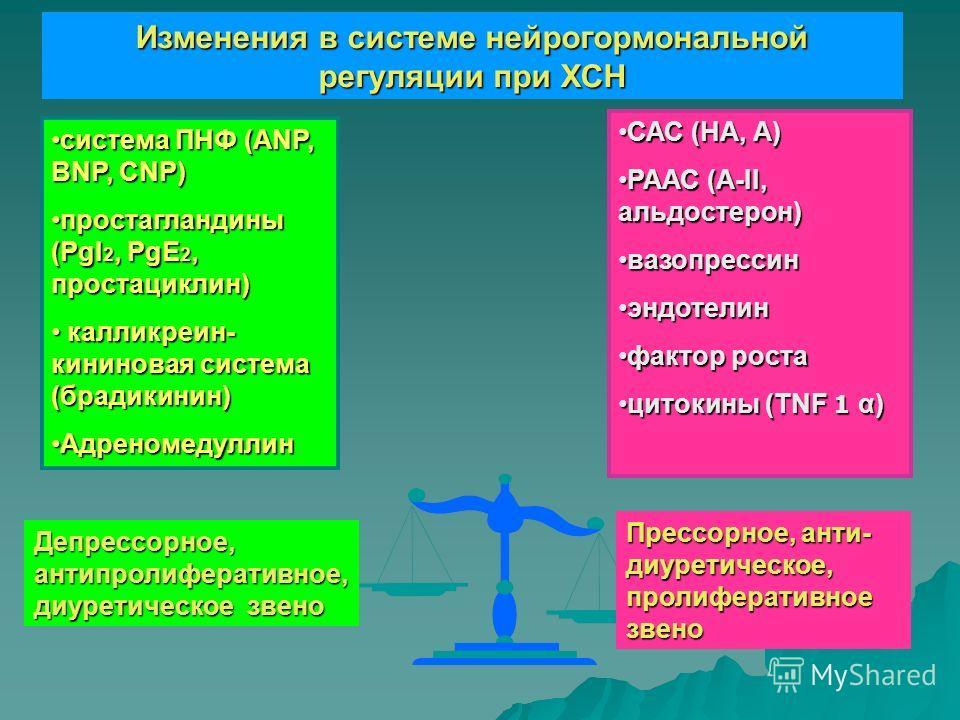 САС (НА, А)САС (НА, А) РААС (А-II, альдостерон)РААС (А-II, альдостерон) вазопрессинвазопрессин эндотелинэндотелин фактор ростафактор роста цитокины (TNF 1 α)цитокины (TNF 1 α) система ПНФ (ANP, BNP, CNP)система ПНФ (ANP, BNP, CNP) простагландины (PgI