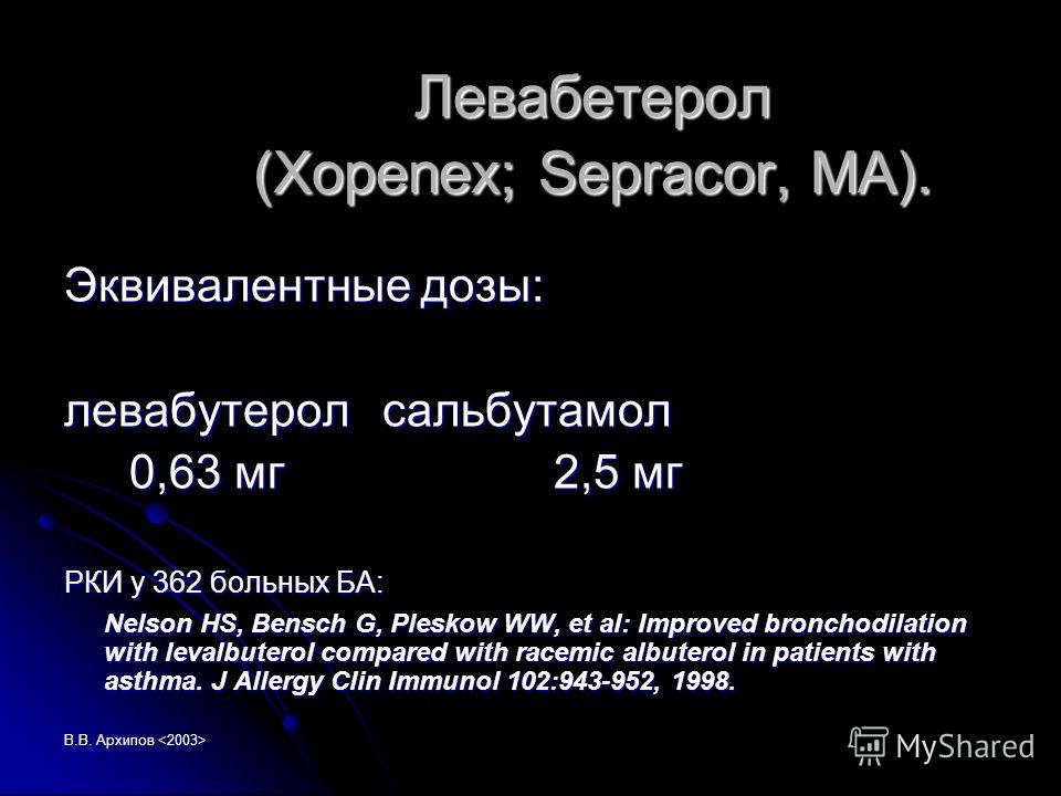 В.В. Архипов Левабетерол (Xopenex; Sepracor, MA). Эквивалентные дозы: левабутеролсальбутамол 0,63 мг 2,5 мг 0,63 мг 2,5 мг РКИ у 362 больных БА: Nelson HS, Bensch G, Pleskow WW, et al: Improved bronchodilation with levalbuterol compared with racemic