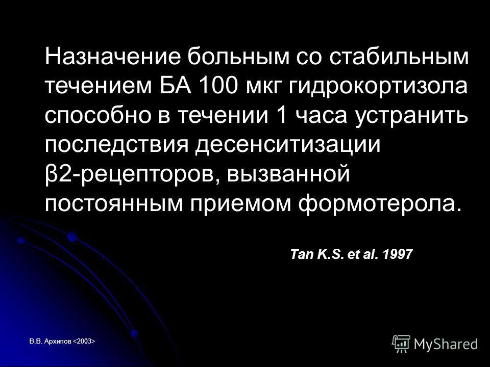 В.В. Архипов Назначение больным со стабильным течением БА 100 мкг гидрокортизола способно в течении 1 часа устранить последствия десенситизации β2-рецепторов, вызванной постоянным приемом формотерола. Tan K.S. et al. 1997