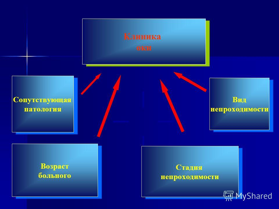 Клиника окн Возраст больного Вид непроходимости Стадия непроходимости Сопутствующая патология