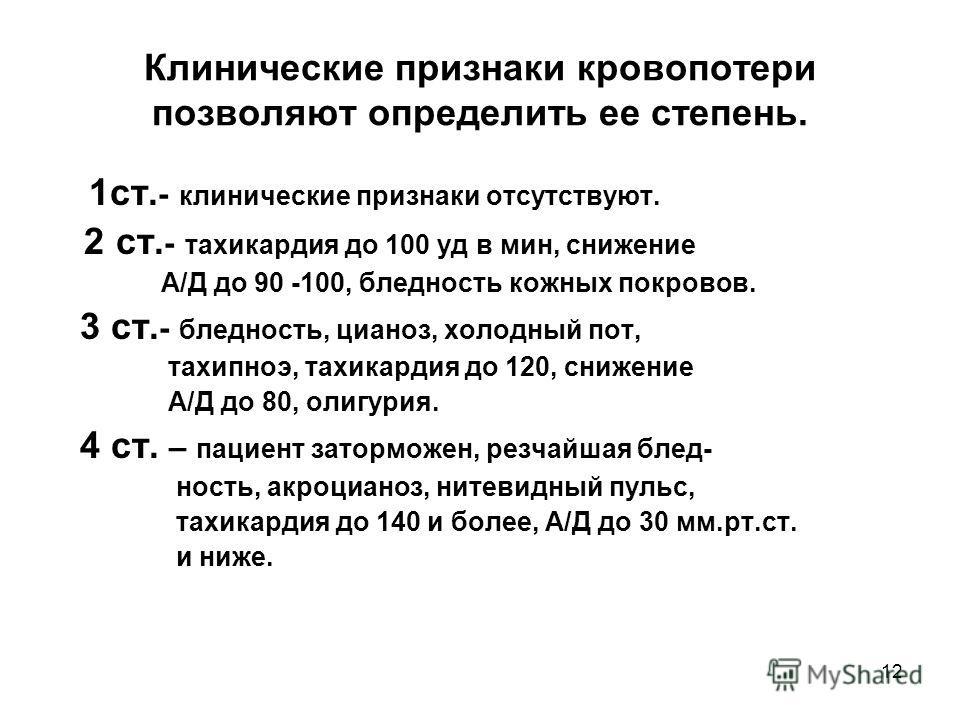 12 Клинические признаки кровопотери позволяют определить ее степень. 1ст. - клинические признаки отсутствуют. 2 ст. - тахикардия до 100 уд в мин, снижение А/Д до 90 -100, бледность кожных покровов. 3 ст. - бледность, цианоз, холодный пот, тахипноэ, т
