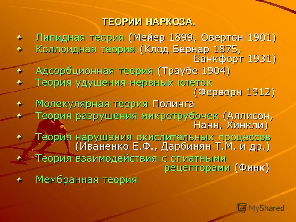 ТЕОРИИ НАРКОЗА. Липидная теория (Мейер 1899, Овертон 1901) Коллоидная теория (Клод Бернар 1875, Банкфорт 1931) Адсорбционная теория (Траубе 1904) Теория удушения нервных клеток (Ферворн 1912) Молекулярная теория Полинга Теория разрушения микротрубоче