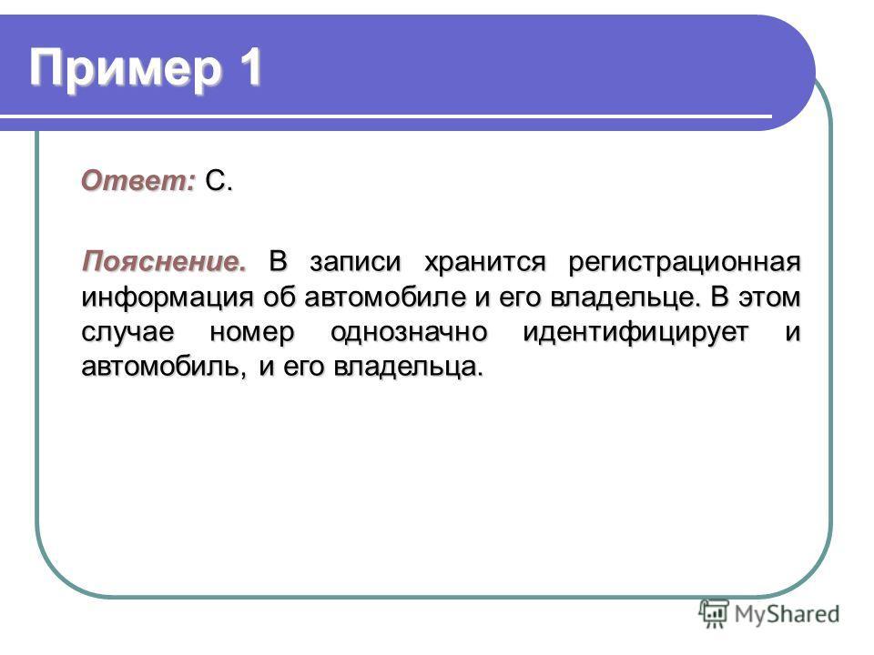Пример 1 Ответ: C. Пояснение.В записи хранится регистрационная информация об автомобиле и его владельце. В этом случае номер однозначно идентифицирует и автомобиль, и его владельца. Пояснение. В записи хранится регистрационная информация об автомобил